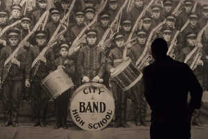 Chris Laporte Drew a Gigantic Life-Size Drawing of an Old Marching Band