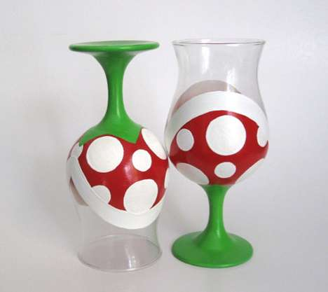 Piranha Plant Wine Glasses