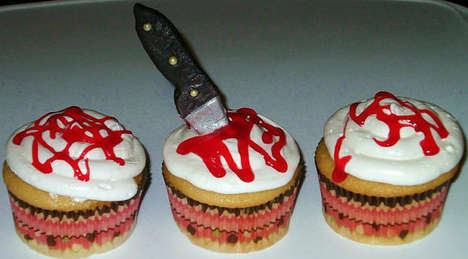 Sweet Serial Killer Cupcakes - These Bloody Stabbed Halloween Cupcakes Channel Murderous Tendancies