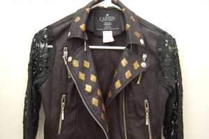 Bejewel Your Leather Jacket with Gold Painted Diamonds