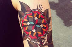 Jonas Geometric Traditional Tattoos Make Have a Patterned Twist