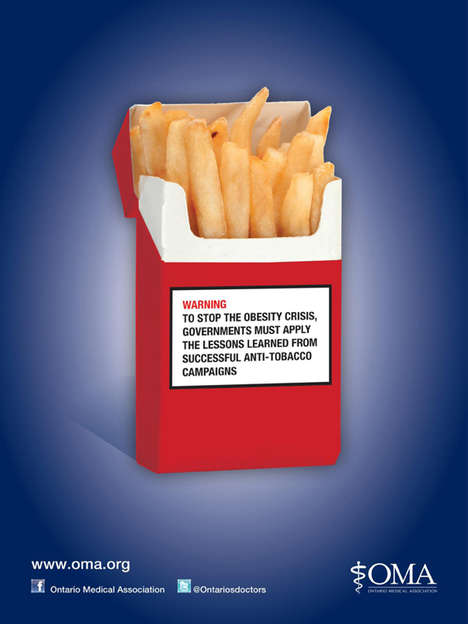 Substance Parallel-Pulling PSAs - The OMA Obesity Combating Campaign Compares Junk Food to Drugs