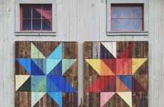 Rainbow Graffitied Barns - Joe Swec Paints a Modern Day Quilt Motif on the Side of a Barn in Vermont