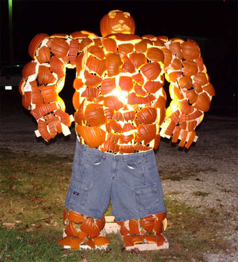 Super Heroic Pumpkin Sculptures - The 'The Thing' Jack-o-Lantern is a Creative Halloween Project