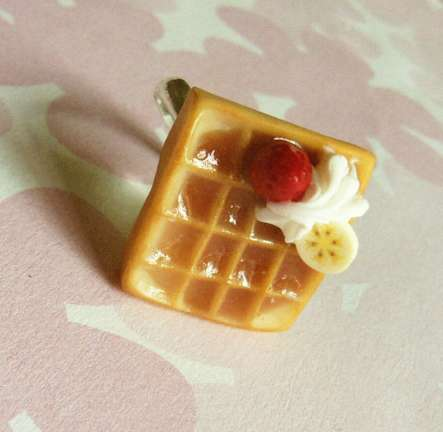 Breakfast Food Accessories - The Strawberry Banana Cream Waffle Ring is Quirky and Fun