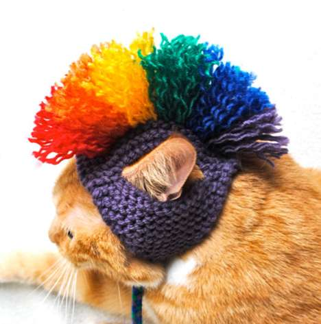 Rebelious Kitty Headpieces - The Mohawk Cat Hat Costume Brings Out the Bad in Your Feline