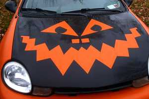 Place Pumpkin Carving Designs on the Hood of Your Car For a Scare