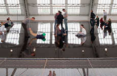 Suspended Reflective Platforms - Horizon Field Hamburg by Antony Gormley Turns People into Art