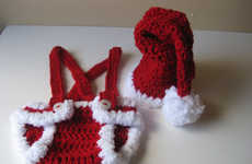 Festive Knitted Diapers - This Crochet Baby Santa Outfit is Great for Baby's First Christmas