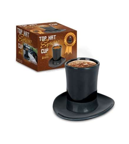 Dapper Gentlemen Mugs - The Top Hat Espresso Cup and Saucer is Fun and Whimsical