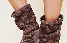 Doily-Mimicking Footwear - The Crochet Slouch Boot Showcases an Airy Stitched Fabric Upper