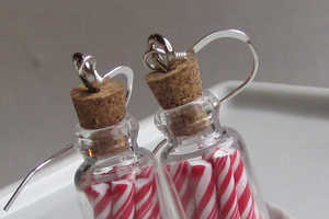The Candy Cane Jar Earrings Feature Edible Candy Conserved for Hunger