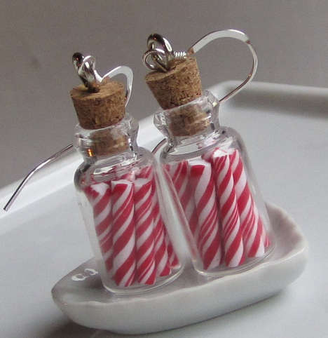 Candy Cane Jar Earrings