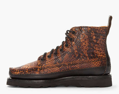 Lavish Reptilian Trail Boots - Experience the Great Outdoors in Designer Yuketen Huntboots