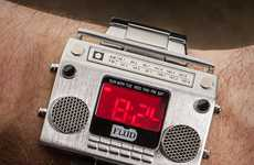 Old School Soundtrack Watches - The Boombox Metal Wristwatch is a Throwback to Retro Beats