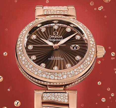 Omega Ladymatic red gold watch