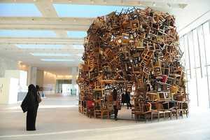 Tadashai Kawamata Makes a Giant Chair Sculpture Out of Furniture