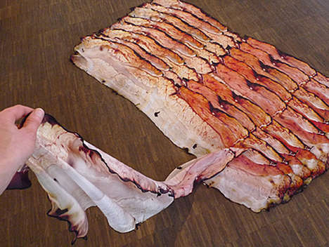 Delicious Bacon Scarves - The Fou Lard Scarf is a Meaty Way to Keep Warm