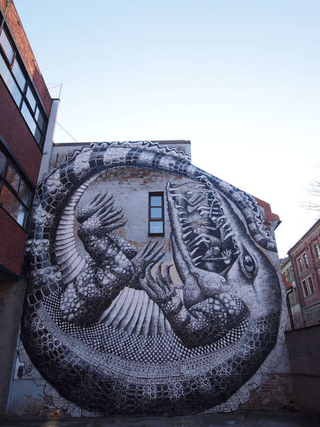 Massive Reptilian Murals - Phlegm Takes His Graffiti Mural to Big Scales at Oslo Art Festival
