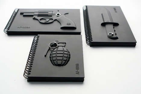 weapon-inspired notebooks
