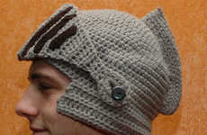 Battle-Ready Knit Hats - The Crochet Knight Helmet is Your Protection Against the Winter