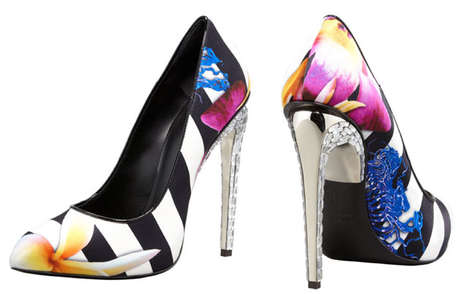 Tropically Striped Heels - The Giuseppe Zanotti Floral Pumps are Reminiscent of Island Escapades