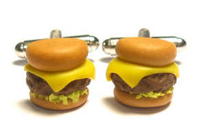 Cheeseburger Cuff Links Add an Alluring Greasiness to the Typical Outfit