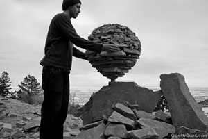 Michael Grab Creates Balanced Rock Sculpture Using Gravity Alone