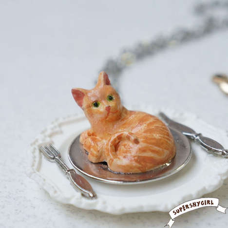 Eat Orange Cat Necklace