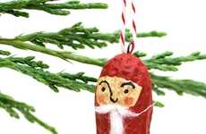 Nutty Kris Kringle Ornaments - The Peanut Christmas Santa Decorations are Tasty Dangling Decor