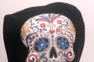 The Sugar Skull Hooded Scarf is Extremely Versatile