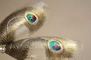 Peacock Feathers Champagne Flutes are Simply Divine