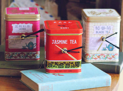 Tea Tin Desk Clocks