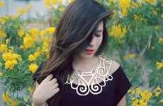 Spiraled Leather Cutout Bibs - The Albaguilar Necklaces Boldly Wrap Around Your Neck Like a Collar
