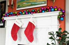 DIY Holiday Home Wreaths - The Brit + Co. Ornament Garland is Adorably Creative