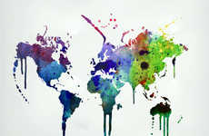 The Watercolor World Map Wall Decal is a Raindow Bleeding Art Piece