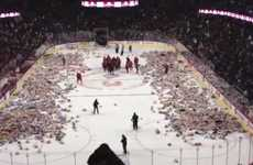 Teddy Tossing Charity Drives - The Teddy Bear Toss Collected 20,000 Bears for Charity in Calgary