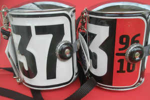 The Recycled License Plate Handbag Features Old English Plates