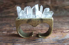 Spiked Crystalline Brass Jewelry - The Quartz Crystal Knuckle Ring is a Beautifully Dangerous Piece