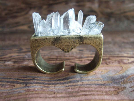 Quartz Crystal Knuckle Ring