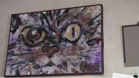cat paintings with urine