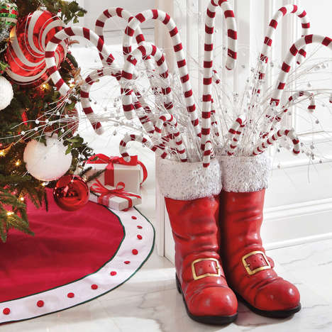Kris Kringle Footwear Sculptures - Make Your Home Festive with Oversized Santa Boots Christmas Decor