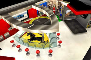 This Ferrari Garage Features a Large Logo in the Pearl Floor