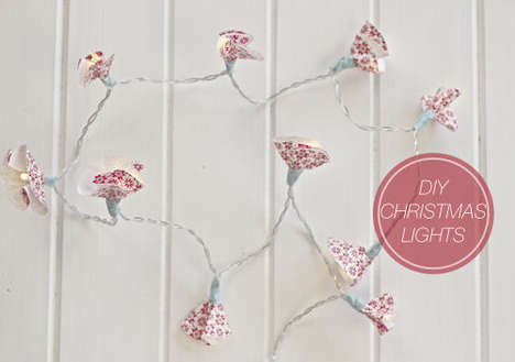 Floral Wrapping Paper Lighting - The DIY Christmas Fairy Lights Recycle Your Scraps of Holiday Wrap