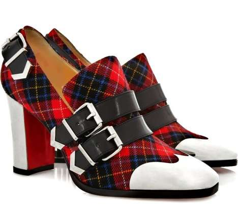Metallic Tartan Pumps - The Christian Louboutin Anita Buckled Tartan Shoes Go Punk