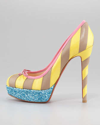 Candy Cane-Inspired Heels - The Christian Louboutin Foraine Glitter Platform Combines Patterns