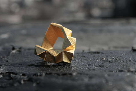 Golden Cubist Jewelry - The Gold Geometric Chunky Ring is Attractively Simplistic