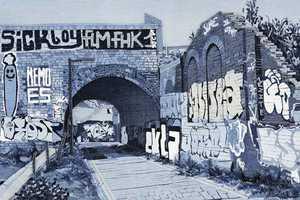 Ian Berry Art Creates Blue Hued Urban Scenes