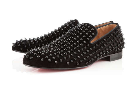 Velour Studded Loafers - The Christian Louboutin Rollerboy Spike Loafers Convey an Edgy Chic Quality