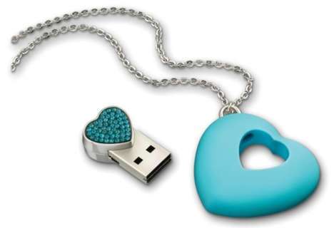 Elegant Hard Drive Necklaces - The Swarovski USB Necklaces Are Electronically-Minded